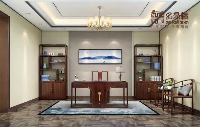 品牌资讯 产品推荐  逸芳现代中式书房整体四方八稳,细节之中别具设计